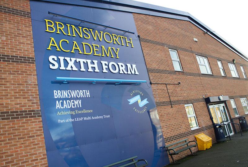 External Signage Cut Lettering Brinsworth Academy